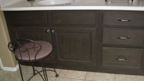 Bathroom Cabinets - Completed DIY makeover with new hardware